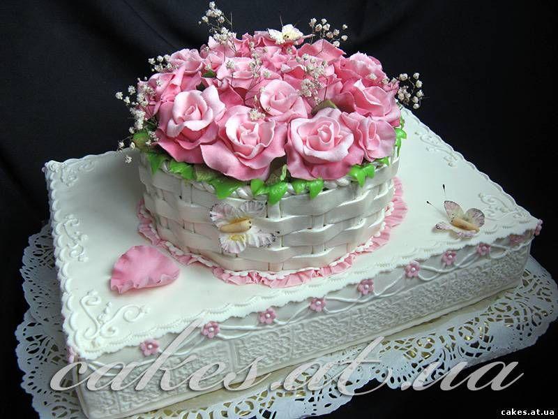 Торт корзина из роз